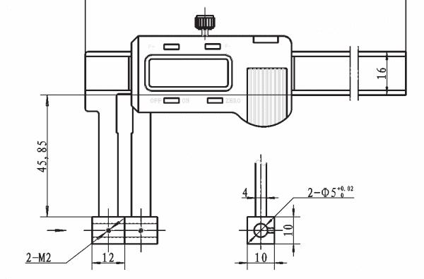 0 - 200mm Digital-Universal-Messschieber Mit Aufnahme Ø 5 mm Für Messeinsätze