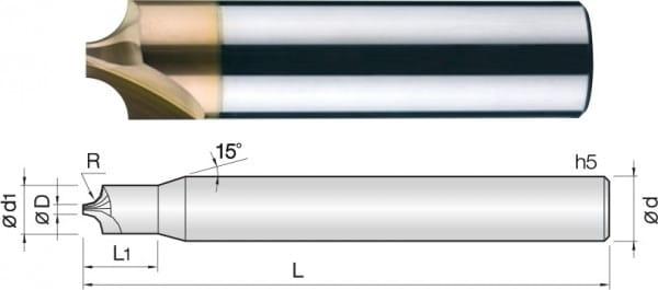 3mm VHM-Konusfräser | Helix 30° | TISIN Coat. | 4 Schneiden