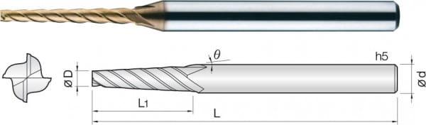 2mm VHM-Konusfräser | Helix 30° | TISIN Coat. | 4 Schneiden